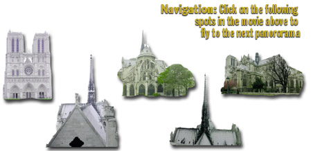 Navigation: click on the image of Notre Dame in the panormas above to fly to the next panorama